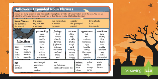 Halloween Expanded Noun Phrases Word Mat