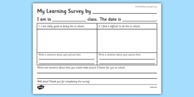 1st and 2nd Class Learning Survey - ireland, irish, organisation, questionnaire, maths, record, table, information, education