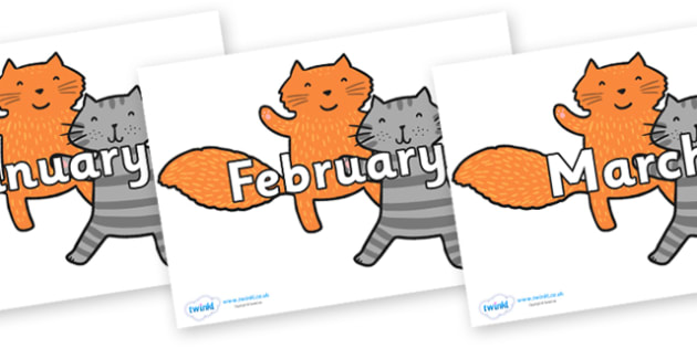 Months of the Year on Cats to Support Teaching on What the Ladybird Heard - Months of the Year, Months poster, Months display, display, poster, frieze, Months, month, January, February, March, April, May, June, July, August, September