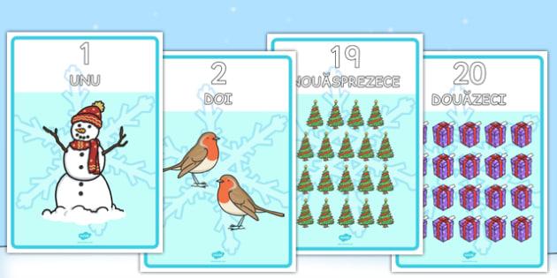 Numerele 0-20 cu imagini de iarna - majuscule, matematica