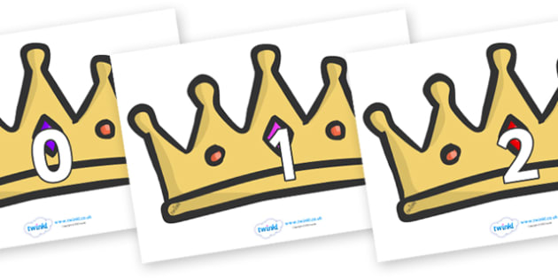 Numbers 0-100 on Crowns - 0-100, foundation stage numeracy, Number recognition, Number flashcards, counting, number frieze, Display numbers, number posters
