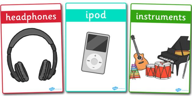Listening Area Word Display Posters - Listening Area, Music Area, Music, sound, sounds, display, poster, instruments, listen, listening