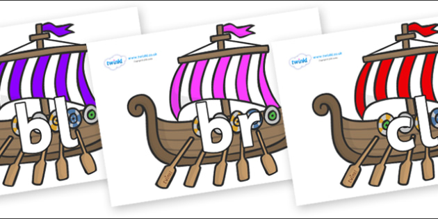 Initial Letter Blends on Viking Longboats - Initial Letters, initial letter, letter blend, letter blends, consonant, consonants, digraph, trigraph, literacy, alphabet, letters, foundation stage literacy