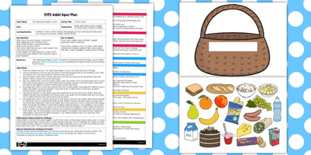 A Picnic Lunch EYFS Adult Input Plan and Resource Pack to Support Teaching on The Lighthouse Keeper's Lunch - picnic