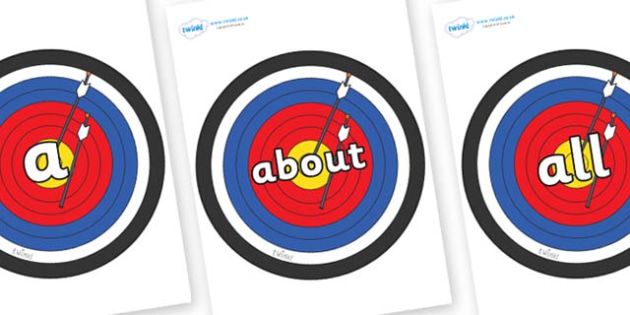 100 High Frequency Words on Archery Targets - High frequency words, hfw, DfES Letters and Sounds, Letters and Sounds, display words