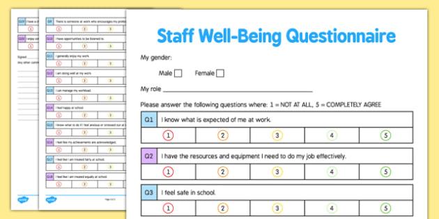 Staff Well-Being Questionnaire  Checklist