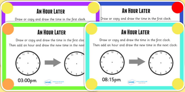 An Hour Later Time Challenge Cards - time, clock, hours, numeracy