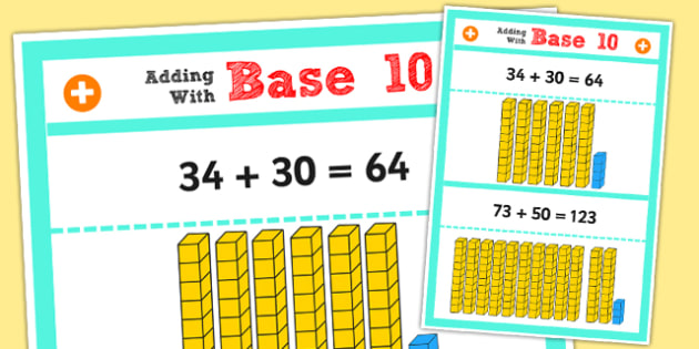 Year 2 Adding 2 Digit Numbers and Tens Using Base 10 Poster