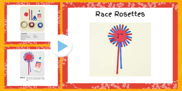 Race Rosettes Craft Instructions PowerPoint - craft, race, rosettes, instructions, powerpoint