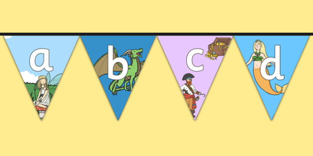 Magical Worlds Fantasy Themed Alphabet Bunting - magical worlds, fantasy, alphabet, bunting, display, display bunting