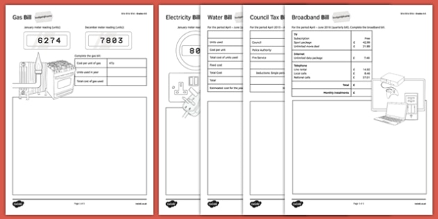 Budget at Home: Bills Bills Bills Activity Sheet Pack GCSE Grades 4-5 - KS3, KS4, GCSE, Maths, Finance, Budget, Home, worksheet