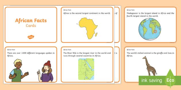 African Facts Challenge Cards - african, challenge cards, cards