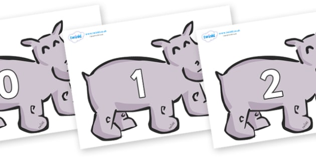 Numbers 0-31 on Hippos - 0-31, foundation stage numeracy, Number recognition, Number flashcards, counting, number frieze, Display numbers, number posters