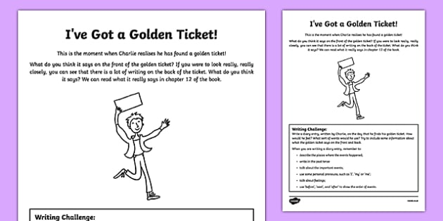 I've Got a Golden Ticket! Writing Activity Sheet to Support Teaching on Charlie and the Chocolate Factory-Scottish, worksheet
