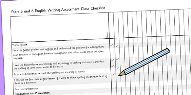 2014 Curriculum UKS2 Years 5 and 6 Writing Assessment Class Check