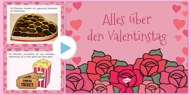 Alles über den Valentinstag EYFS All About Valentine's Day PowerPoint German - german, valentine, love, cupid