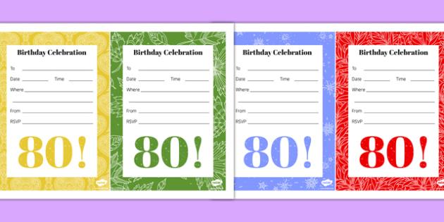 80th Birthday Party Invitations - 80th birthday party, 80th birthday, birthday party, invitations
