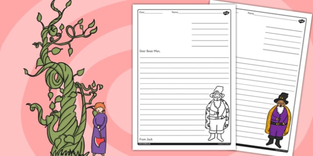 Jack and the Beanstalk Letter From Jack Writing Frame - writing