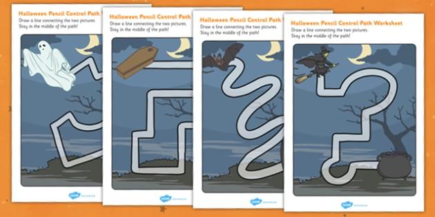 Halloween Pencil Control Path Activity Sheet Pack - Pencil, Halloween, Control, Path, worksheet