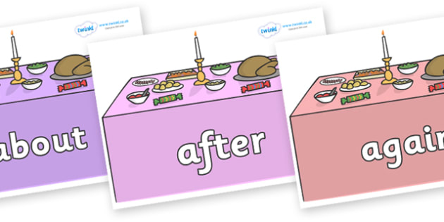 KS1 Keywords on Christmas Dinner (Tables) - KS1, CLL, Communication language and literacy, Display, Key words, high frequency words, foundation stage literacy, DfES Letters and Sounds, Letters and Sounds, spelling