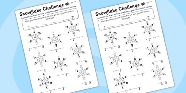 Snowflake Scramble Activity Sheet - snowflake, word scramble, word games, word activities, games, activites, letters, words, sounds, wet play, fun activities, letter games, worksheet