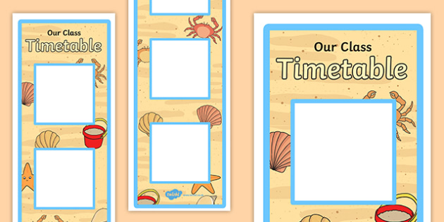 Large Seaside Themed Vertical Visual Timetable - seaside, vertical, visual timetable
