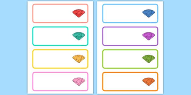 Gemstone Themed Editable Drawer Peg Name Labels - gem, stones, precious, class, labels, signs, name, eyfs, ks1, ks2