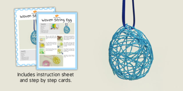 Woven String Egg Craft Instructions - string, egg, woven, craft