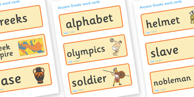 Ancient Greece Word Cards - Ancient Greeks, history, Greeks, word card, flashcards, cards, Greece, Olympic games, Homer, Athens, Alexander the Great , theatre, parthenon, Sparta, peloponnesian war, persians