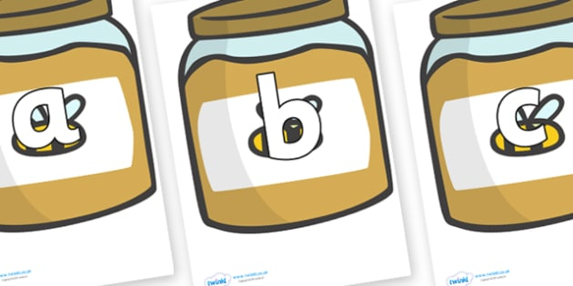 Phoneme Set on Honey Jars - Phoneme set, phonemes, phoneme, Letters and Sounds, DfES, display, Phase 1, Phase 2, Phase 3, Phase 5, Foundation, Literacy