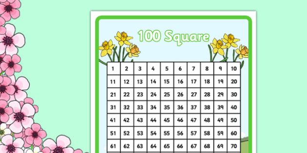 Spring Theme 100 Number Square - number square, number, square, numeracy, maths, math, spring, spring themed, spring number square, spring 100 square, numbers, counting on, counting back, times tables, addition, subtraction, number sequences