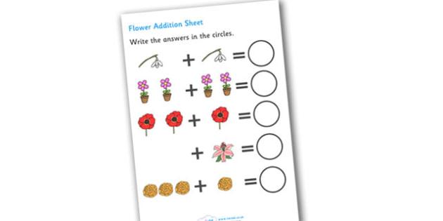 Flowers Addition Sheet - flower, flowers, flower addition, flower addition worksheet, flower counting and addition, flower counting, flower numeracy