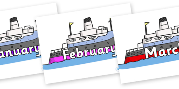 Months of the Year on Boats - Months of the Year, Months poster, Months display, display, poster, frieze, Months, month, January, February, March, April, May, June, July, August, September