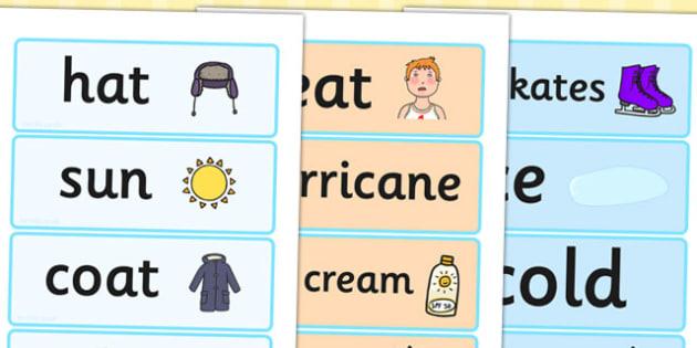 Winter Word Cards - seasons, weather, key words, visual aids