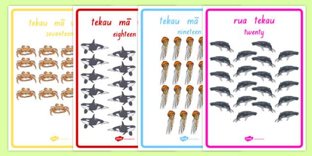Numbers 1-20 Display Posters Te Reo Māori Translation - te reo maori, new zealand, nz, numbers, display poster