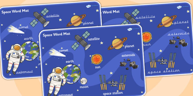 Space Scene Word Mat - space, vocabulary mat, word mat, key words, topic words, word poster, vocabulary poster, scene words, literacy, themed word mat
