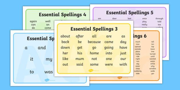 New Zealand Essential Spelling Word Mats