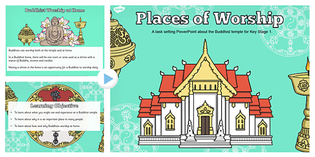 Places of Worship Buddhist Temples KS1 PowerPoint - powerpoints