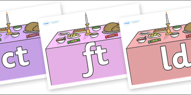 Final Letter Blends on Christmas Dinner (Tables) - Final Letters, final letter, letter blend, letter blends, consonant, consonants, digraph, trigraph, literacy, alphabet, letters, foundation stage literacy