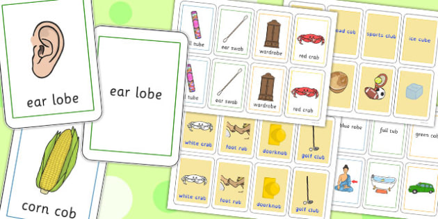 Two Syllable Final B Sound Playing Cards - final, b, sound, cards