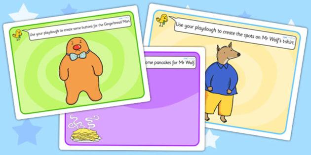 Playdough Mats to Support Teaching on Mr Wolf's Pancakes - fine motor skills, playdough