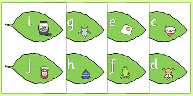 Alphabet on Leaves - alphabet, leaves, display, letters, leaf
