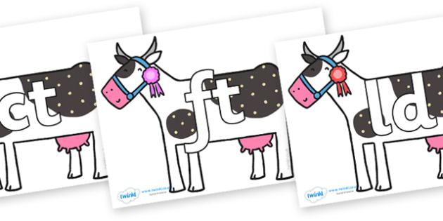 Final Letter Blends on Cow to Support Teaching on What the Ladybird Heard - Final Letters, final letter, letter blend, letter blends, consonant, consonants, digraph, trigraph, literacy, alphabet, letters, foundation stage literacy