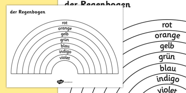 The Rainbow Colours Colouring Sheet German - german, rainbow, colours, colouring, sheet