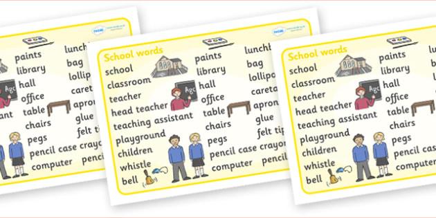 School Word Mat - education, home school, child development, children activities, free, kids, worksheets, how to write, literacy