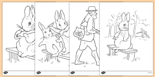 Beatrix Potter - The Story of a Fierce Bad Rabbit Colouring Sheets - beatrix potter, fierce, bad, rabbit