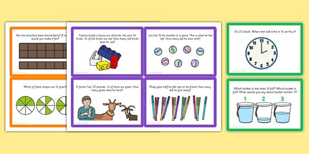 Fractions Challenge Cards - fractions, challenge, cards, activity