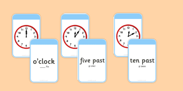 Telling The Time Matching Flashcards Romanian Translation - romanian, time, matching, flashcards