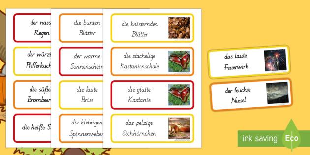 Herbst Sinnes Wortschatz: Wort- und Bildkarten