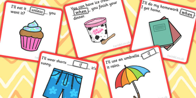 Finish The Sentence When If Unless Conjunction Cards - sentence